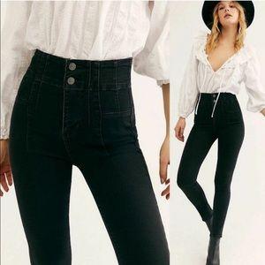 New Free People Jayde skinny black high rise jeans